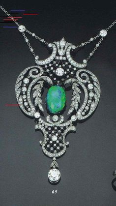 A Belle Epoque Diamond And Black Opal Pendant Opal Necklace, Opal Jewelry, Bridal Jewelry, Emerald Earrings, Emerald Jewelry, High Jewelry, Gemstone Earrings, Jewellery, Belle Epoque