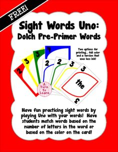 Are you looking for a fun way to practice the Pre-Primer Dolch sight words with your Pre-K, Kindergarten, or First Grade class?  Play sight words Uno with them!  This game is played with the same rules as the original Uno game, but has sight words on it!