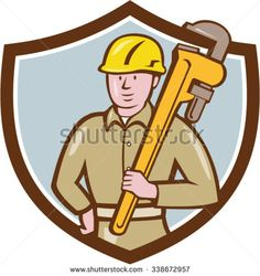 Illustration of a plumber wearing hardhat holding carrying monkey adjustable wrench on shoulder viewed from front side set inside shield crest on isolated background done in cartoon style.  - stock vector #plumber #cartoon #illustration