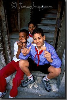 Cuban School Boys eattin' Ice Cream