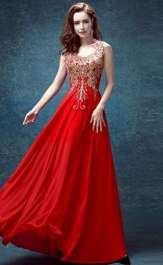 Elegant Red Chiffon Chinese Wedding Dress with Floral Appliques - iDreamMart.com Red Wedding Gowns, Red Gowns, Wedding Dress Styles, Red Chiffon, Prom Dresses, Formal Dresses, Chinese Dresses, Beautiful Dresses, Vintage Dresses
