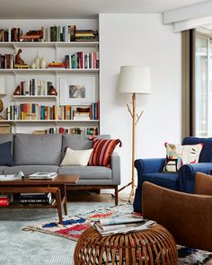 use of smaller vintage rug at diagonal on larger neutral rug. That side table (I think from west elm). Mix of modern and traditional furniture.