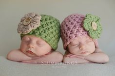 SET Vintage Cotton Baby Flower Hats Pink Sage Green Newborn Photograph | Beautiful Photo Props