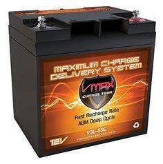 "VMAX V30-800 12V 30AH AGM Deep Cycle Battery (6.5""Lx5""Wx7.2""H) for Berkley BTM25 - Freshwater 12V 25lbs Electric Trolling Motor"