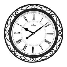 Easton Black Large Wall Clock Bulova Wall Mounted Clock Clocks Home Decor