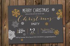 Christmas Party Snowflake Invitation Gold & by RockStarPress