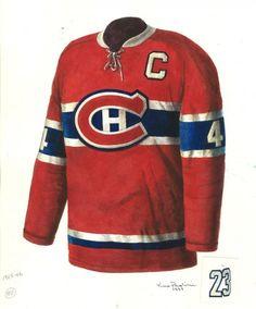 1965 - 1966 Montreal Canadiens vintage jersey artwork by Scott Silcox Montreal Canadiens, Hockey, Vintage Jerseys, Canada, Ml B, Nfl Jerseys, Esports, Nascar, Nhl