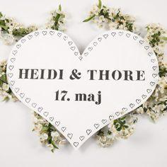 Bryllup Hjerte Skilt