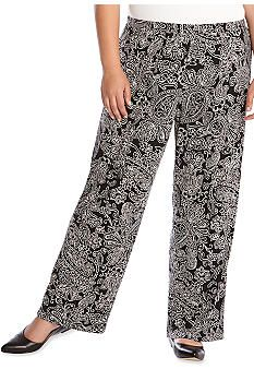 9585e908be2 Karen Kane Plus Size Fashion Black and White Paisley Print Wide Leg Pants   Karen Kane