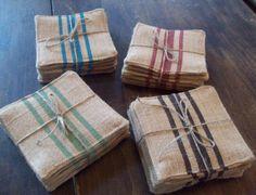 Burlap Coasters with Grain Sack Style Stripes - Set of 6 - Choose Your Colors - Coasters - Rustic Coasters - Grain Sack Coasters