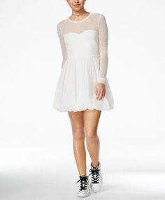 In Awe of You by Awesomeness TV Juniors' Bow-Back Illusion A-Line Dress $24.99 Dance the night away in this showstopper from In Awe of You by Awesomeness TV, with a flirty illusion neckline and flattering silhouette.
