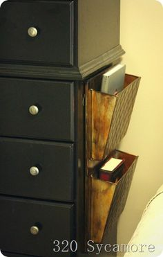 Add a magazine rack to the side of nightstand to give more storage space