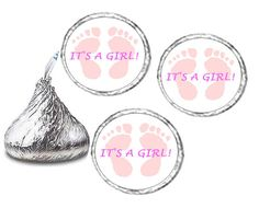 Pink Footprints ITS A GIRL Baby Shower Feet Candy Wrapper Labels Stickers fits Kisses via Etsy