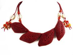 Necklace Red Leaves Macrame Cowry Shells Choker Collier Thai Boho Tribal Surfer Hippie Leafs Fire Agate
