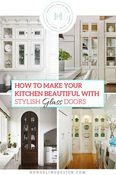 """Break out of the """"boring white kitchen"""" syndrome with these tips on using glass cabinetry to create stunning character and visual interest in your next kitchen. Think beyond the old idea of using glass wall cabinetry to flank a window and lear Glass Kitchen Cabinet Doors, White Kitchen Cabinets, Kitchen Sink, Prep Kitchen, Glass Doors, Kitchen Countertops, Soapstone Kitchen, Leaded Glass, Kitchen Appliances"""