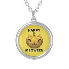 "Cute Halloween ""Happy Meoween"" Silver Plated Necklace - diy cyo customize create your own personalize"