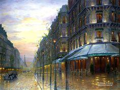 Robert Finale - Cafe de Paris - Paris, France - European Collection - oil on canvas