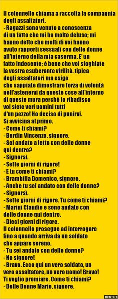 Il colonnello chiama a raccolta la compagnia degli.. Emoticon, Video, Funny, Quotes, Culture, Humor, Smiley, Quotations, Funny Parenting