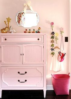 pink painted furniture + wall