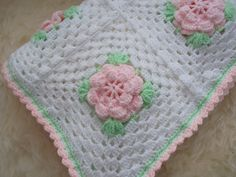 Large Shabby Chic Granny Square Baby Cot Blanket - Throw £40.00
