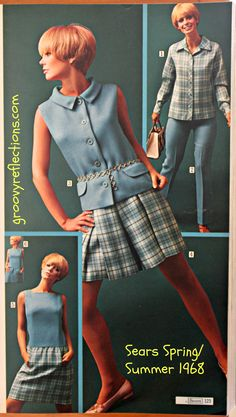 We've got the blues ...and the plaids! Get coordinated with these mod fashions from Sears Spring / Summer 1968 catalog! #sears #fashion #style