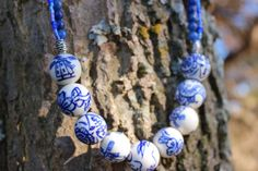 SOOOO CUTE AND THERE IS ONLY ONE LEFT!!! Blue and White two stranded necklace Beautiful by RubysJewelry1,