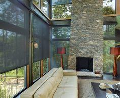 motorized solar shade; Charleston motorized window treatments contemporary living room