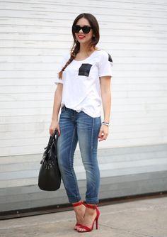 True Religion jeans, Beginning Boutique T-shirt & sandals, MyBag bag, Furor Moda sunglasses.