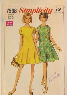 Vintage 60's Dress Sewing Pattern - Simplicity 7598