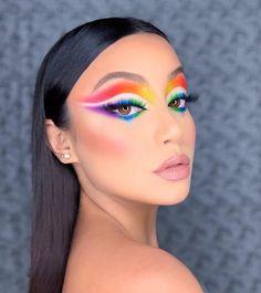 Makeup Beauty Room, Eye Makeup Art, Kiss Makeup, Eyeshadow Makeup, Arabic Makeup, Indian Makeup, Rainbow Makeup, Colorful Eye Makeup, Makeup Face Charts