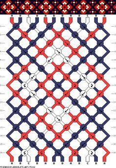 Friendship Bracelet Pattern - Blue White Red - Easy