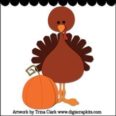 Thanksgiving Turkey 2 - Trina Clark Cutting File / Paper Piecing : Digi Web Studio, Clip Art, Printable Crafts & Digital Scrapbooking!