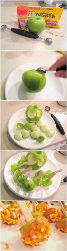 Mini Candied Apples [melon baller for apple dipped in melted butterscotch]