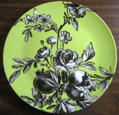 Decorative Dishes - Black and White Toile on Green Roses Fruit Rosanna Plate B, $19.99 (http://www.decorativedishes.net/black-and-white-toile-on-green-roses-fruit-rosanna-plate-b/)