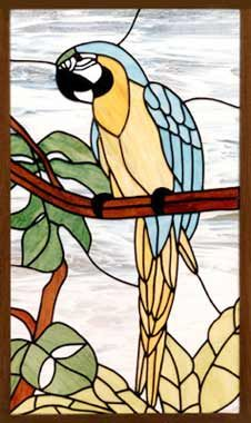 "custum stained glass | ... MACAW"" LEADED STAINED GLASS PARROT WINDOW CUSTOM AT GLASS BY DESIGN"