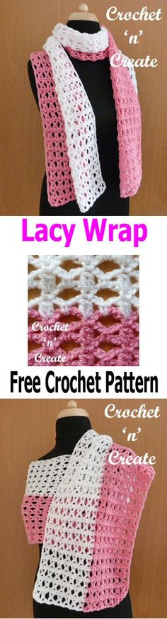 Free crochet pattern for lacy wrap, you can also wear as a scarf. #crochetncreate #crochetwrap