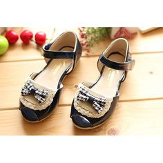 Black Patent Leather Mary Jane Flower Pageant Party Girl Shoes Sandals  SKU-133148