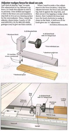 Table Saw Fence Adjuster - Table Saw Tips, Jigs and Fixtures | WoodArchivist.com
