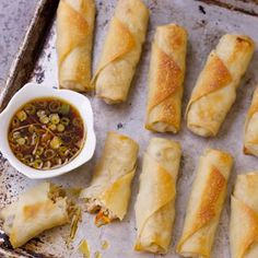 Baked Spring Rolls  Try wrapping filling in lettuce leaves for a lighter dish.