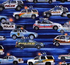 Police+Cars+on+Blue,+Boys+in+Blue+by+Benartex+&+Kanvas+at+Creative+Quilt+Kits