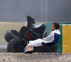 Alonso Crash Adelaide man alive in March Ricciardo F1, Daniel Ricciardo, Norman Rockwell Art, Mclaren Cars, F1 Drivers, Car Crash, F1 Racing, World Of Sports, Car And Driver