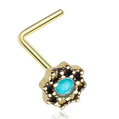Golden Color Lotus Opalescent Sparkle Filigree Icon L-Shaped Nose Ring - 20 G - Sold as a Pair