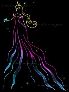 Beautiful ribbon art of Aurora by Mandie Manzano