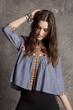 loving this denim blouse Frock Fashion, Boho Fashion, Fashion Dresses, Pakistani Fashion Casual, Indian Fashion, Cute Casual Outfits, Boho Outfits, Crop Top Design, Stylish Dresses For Girls