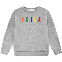 être cécile Voila Sweatshirt (€45) ❤ liked on Polyvore featuring tops, hoodies, sweatshirts, crew-neck sweatshirts, petite tops, crew neck top, loose long sleeve tops and petite sweatshirts