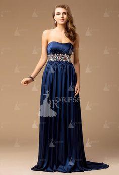 Elegant Sheath Strapless Beading Sleeveless Taffeta Dresses