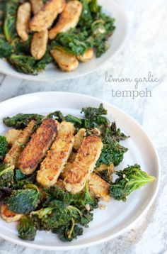 21 Day Fix Approved -- Lemon Garlic Tempeh & Kale
