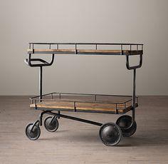 Restoration hardware bar cart for coffee station