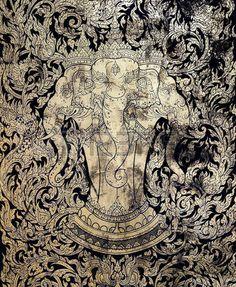 Ancient Thai gold leaf painting art of three head elephant Stock Photo
