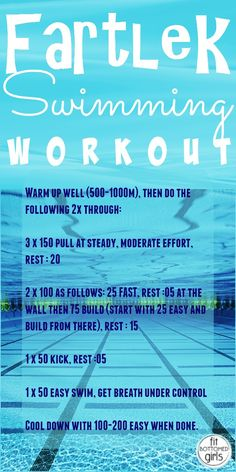 A swimming workout to try out at the gym.